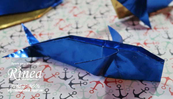 Rinea Foiled Paper Origami Cobalt Whale with Roni Johnson