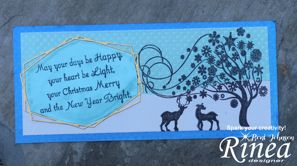Rinea Foiled Paper Blue Christmas by Roni Johnson