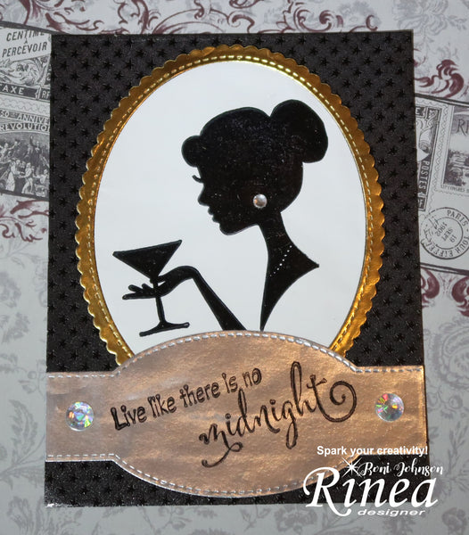 Rinea Foiled Paper Formal New Years Card by Roni Johnson