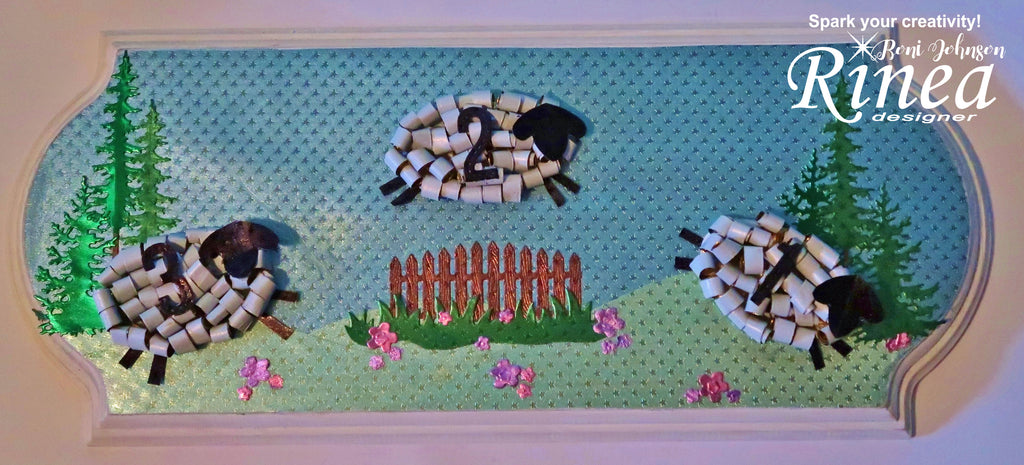 Rinea Foiled Paper Counting Sheep Plaque by Roni Johnson