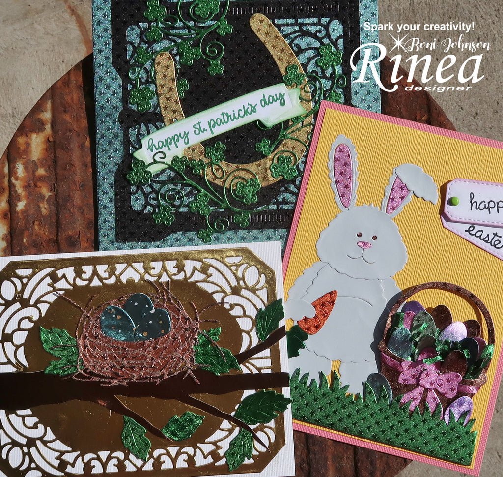 Rinea Foiled Paper Trio of Spring Holiday Cards by Roni Johnson