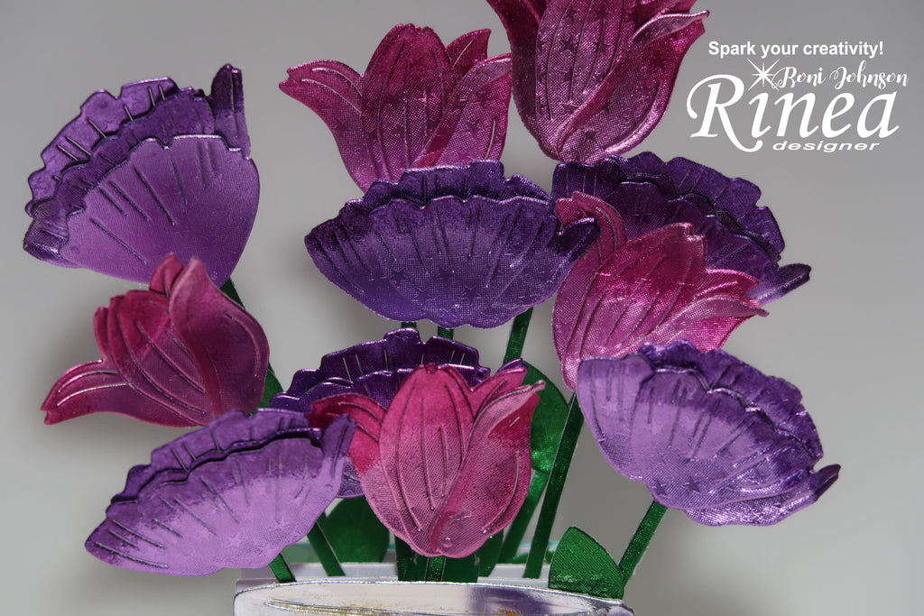 Rinea Foiled Paper Flower Filled Mason Jar Card by Roni Johnson