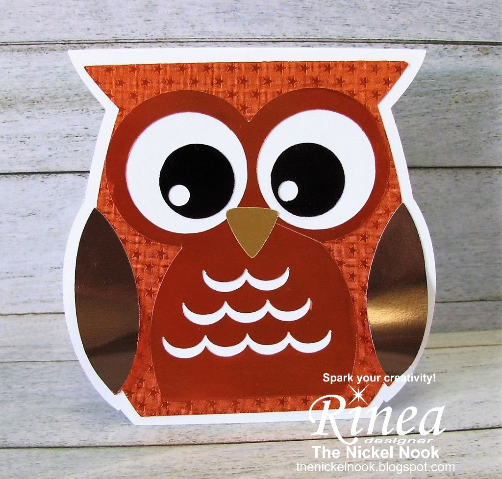 Autumn Owl Card with Rinea Foiled Paper
