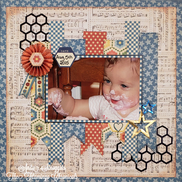 Scrapbook Layout using Rinea Foiled Paper