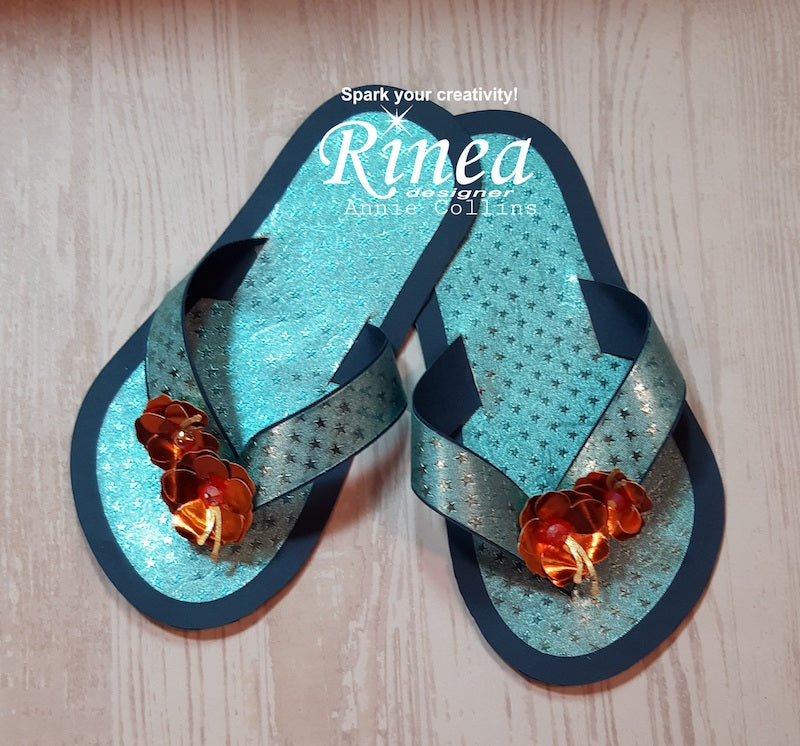 Summer Time Flip Flops Using Rinea Foiled Paper