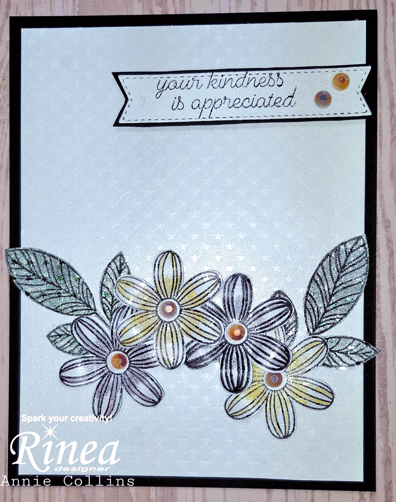 Handmade Card using Rinea Foiled Paper Arctic White