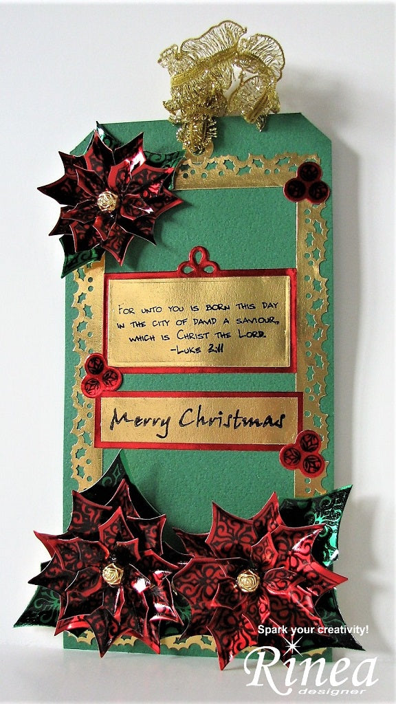 Christmas Tag using Rinea Foiled Paper