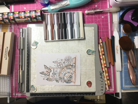 Stamping and colouring the main panel