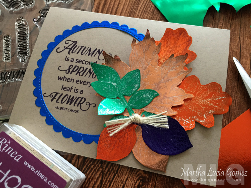 Colorful Autumn Card with Rinea Foiled Paper