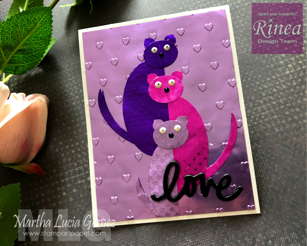 Cat's Family Card using Rinea Foiled Paper