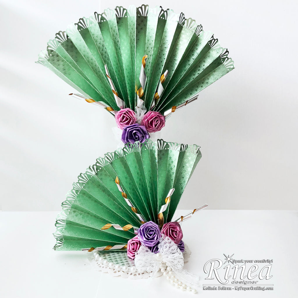 Fan and Flower Table Centerpiece using Rinea Foiled Paper
