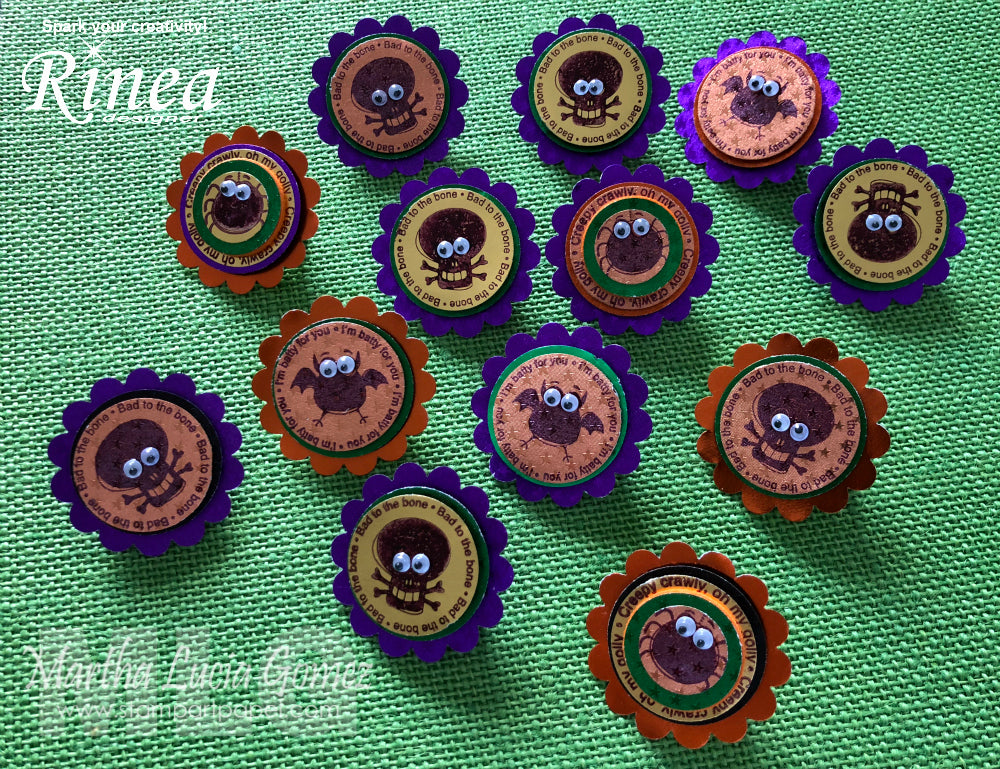 Halloween Buttons using Rinea Foiled Paper