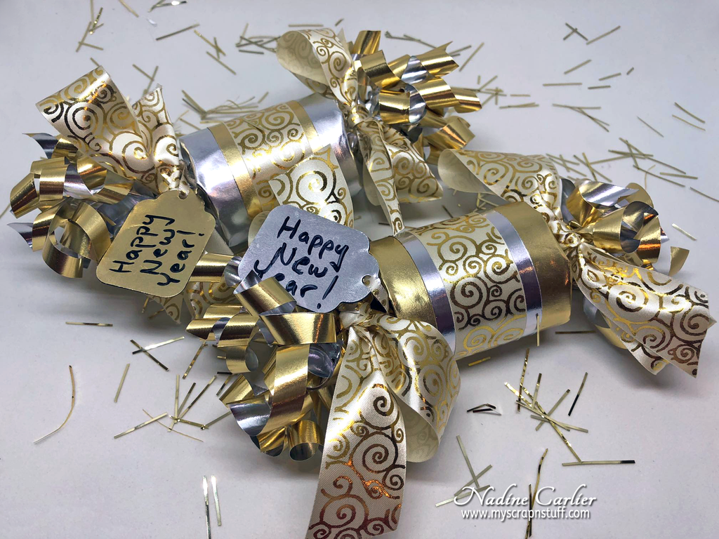 New Years Party Favors using Rinea Foiled Paper by Nadine Carlier