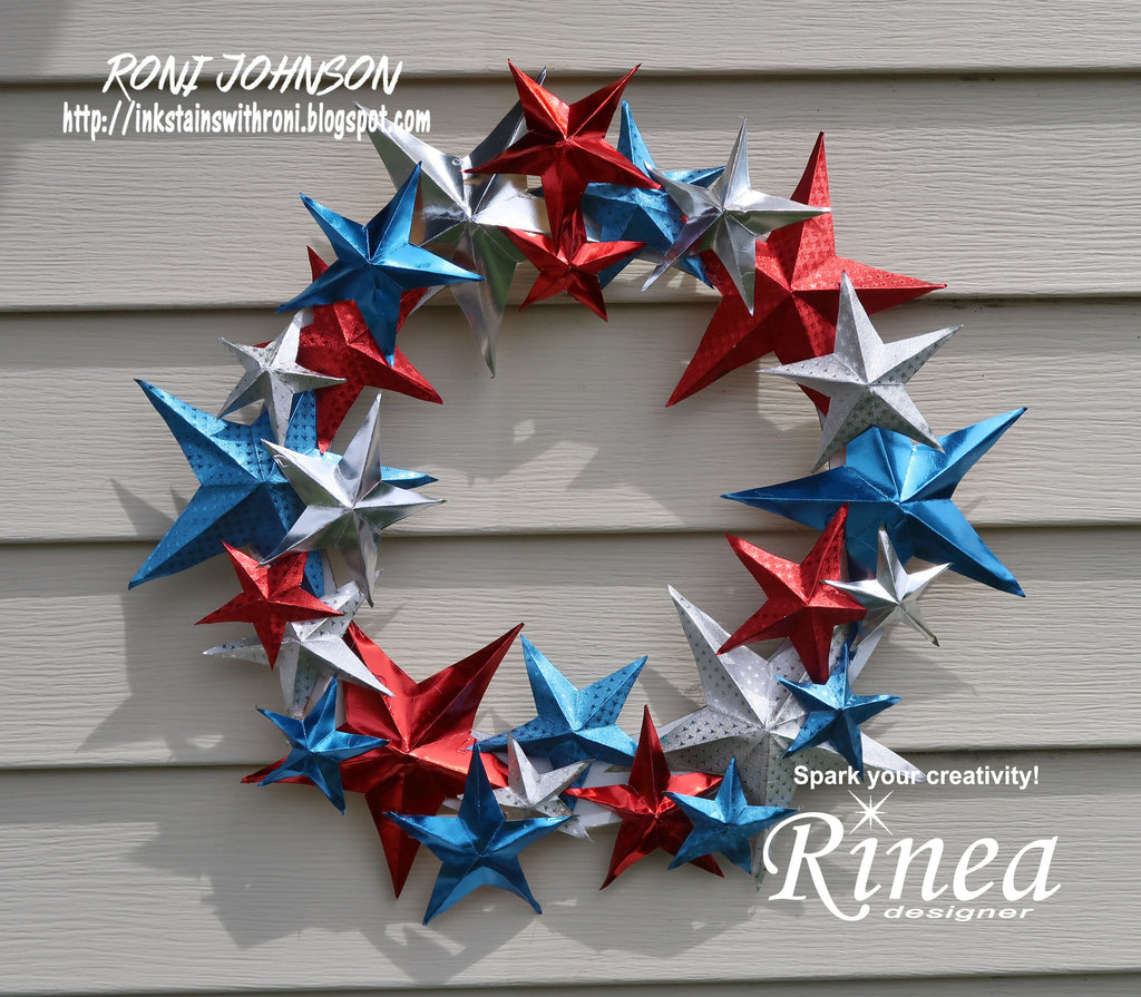 Patriotic Wreath with Rinea Foiled paper