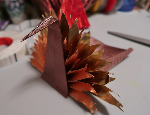 Rinea Foiled Paper Modular Origami Turkey with Roni