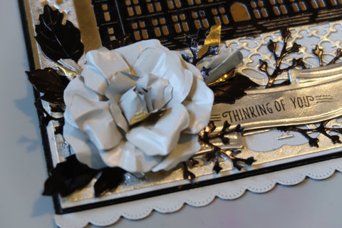 Step 6 - Die cut tags, banner, flowers and foliage using foiled paper from the Elegant Variety Pack.