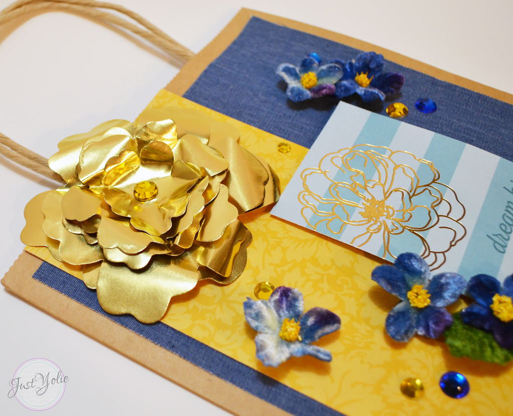 Decorating A Brown Paper Bag with Rinea Foiled Paper