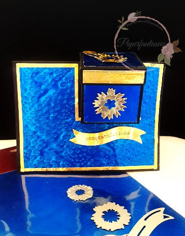 Gift box in a card using Rinea Foiled Paper