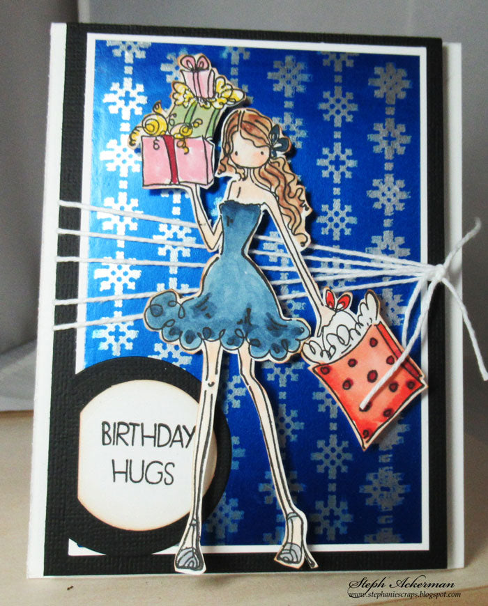 Card using Rinea Foiled Paper, Rinea Ghost Ink & Joy Clair Stamps