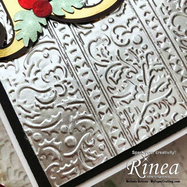 Christmas card using Rinea Foiled Paper