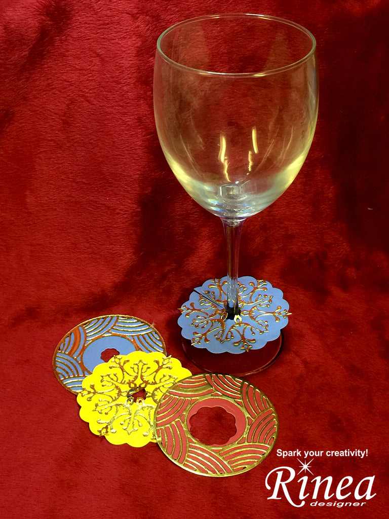wine glass labels using rinea foiled paper