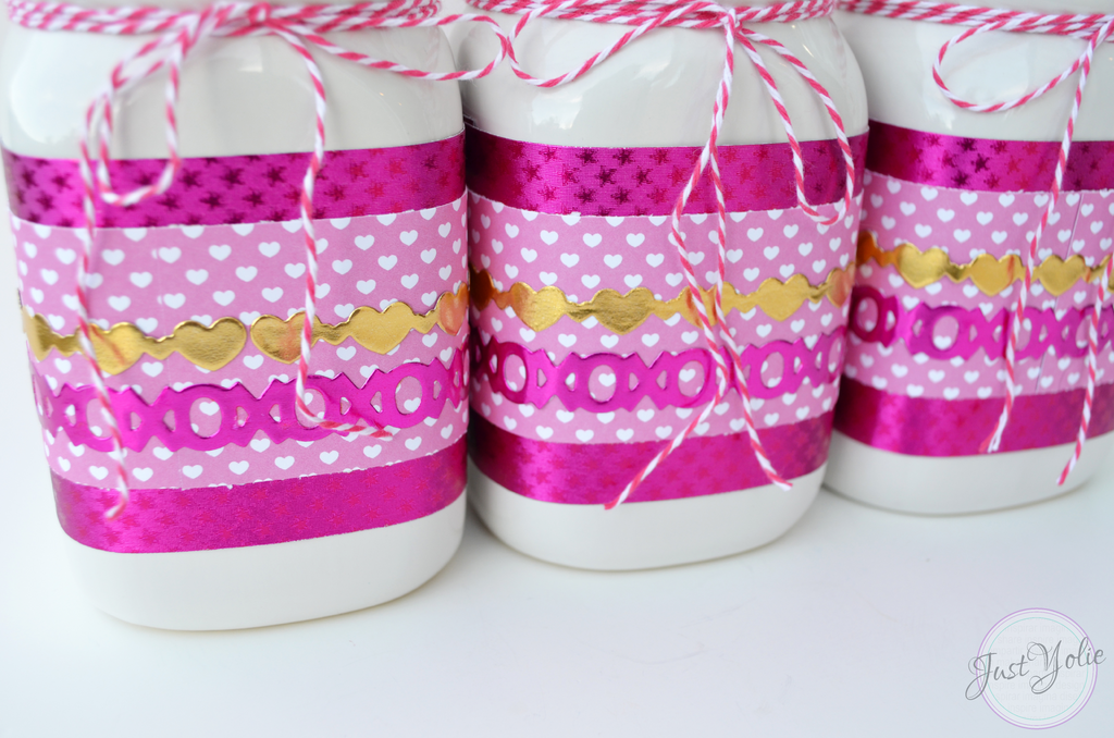 Valentine's Day Mason Jars using Rinea Foiled Paper