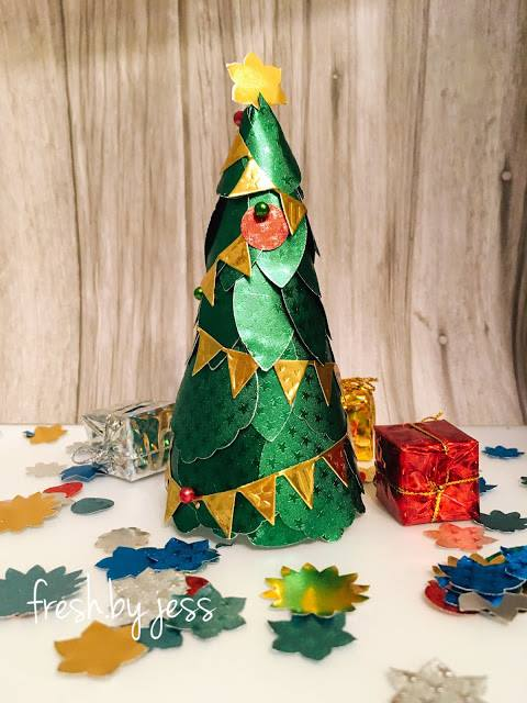 Christmas Tree Decor using Rinea Jolly Foiled Paper Variety Pack
