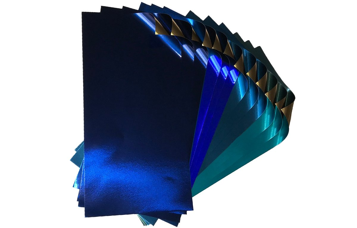 Rinea Shades of Blue Glossy Variety Foiled Paper