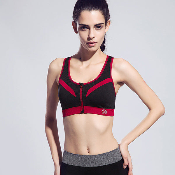 Zipper Sports Bra Push Up Shockproof with Inner Pad - Olivia and Ava