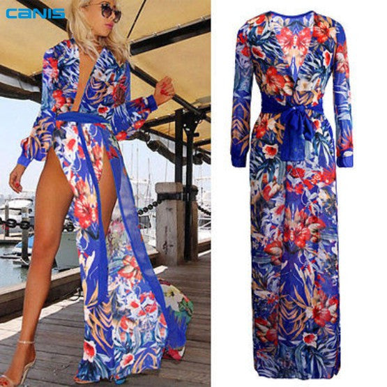 Long Sleeve Chiffon Flower Split Dress Cover Ups - Olivia and Ava