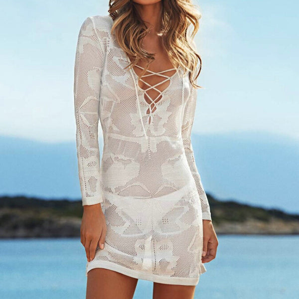 Knit Hollow Long Shirt Dress Beach Wear - Olivia and Ava