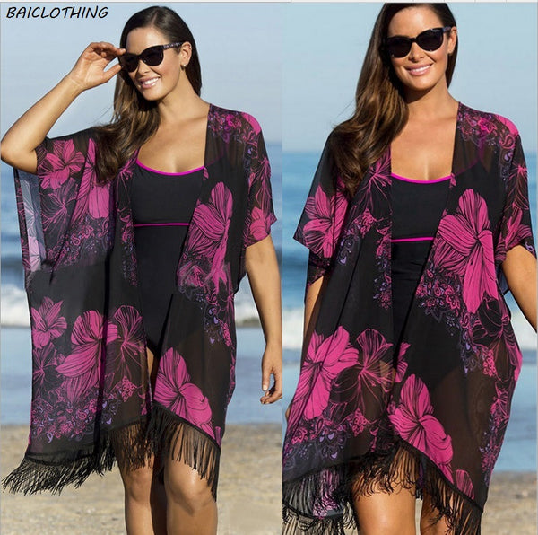 Summer Printed Chiffon Bathing Suit Cover up - Olivia and Ava