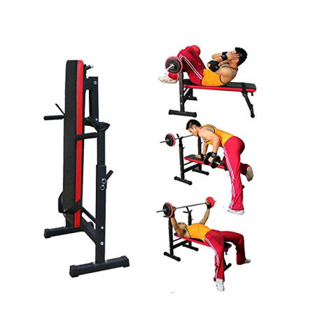 Adjustable Portable Folding Weight Bench Barbell W/ Dip Station Lifting Chest Press Weight Lifting Flat Incline Bench Fitness Workout Bench Sit Up bench - Olivia and Ava
