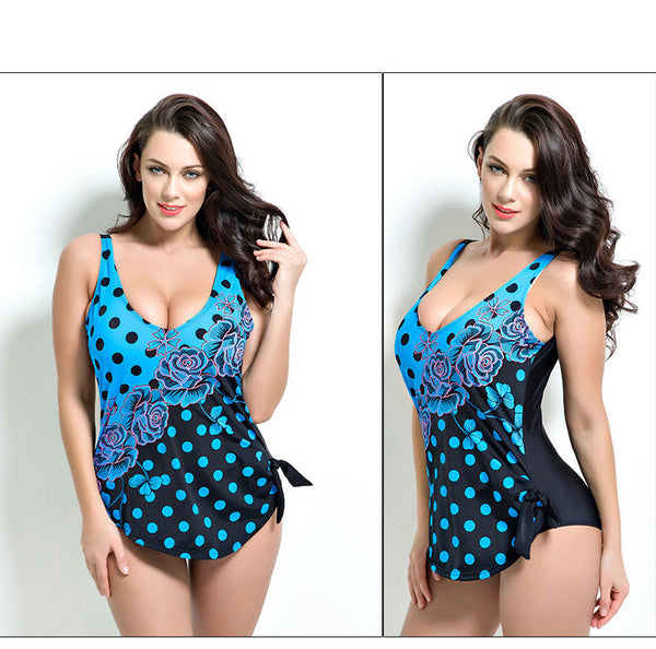 One Piece Swimsuit Dress Vintage Floral Dot Backless - Olivia and Ava