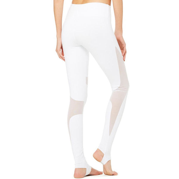 Stirrup White Mesh Fitness Leggings High Waist - Olivia and Ava