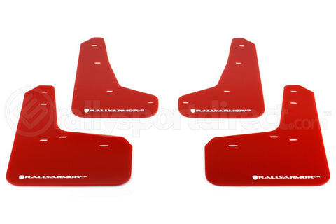 Rally Armor UR Mudflaps Red Urethane White Logo - 2013+ Ford Focus ST