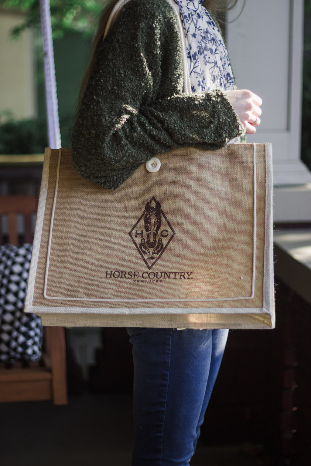 Horse Country Jute Market Tote