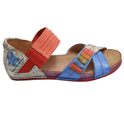 Elastic Close Heel Sandal Blue Multi