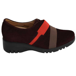 Wedge Slip On Suede Burgandy