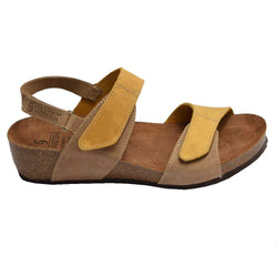 Cork Wedge Velcro Sandal Yellow/Beige