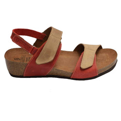 Cork Wedge Velcro Sandal Red/Beige
