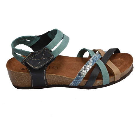 Cork Wedge Strappy Sandal Blue Multi