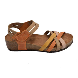 Cork Wedge Strappy Sandal Orange Multi