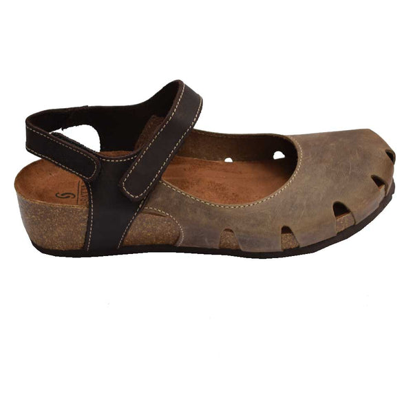 Cork Wedge Velcro Clog Brown Multi