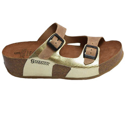 Cork Wedge Slide Beige/Platinum
