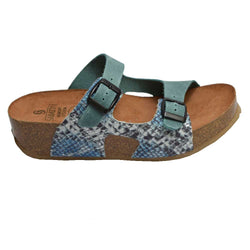 Cork Wedge Slide Jeans Multi