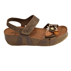 Cork Wedge Flower Sandal Beige