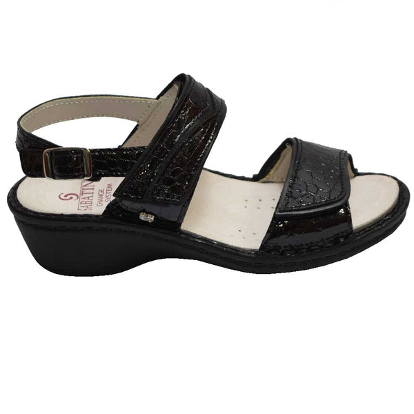 Wedge Velcro Sandal Black