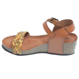 Cork Wedge Woven Sandal Brown