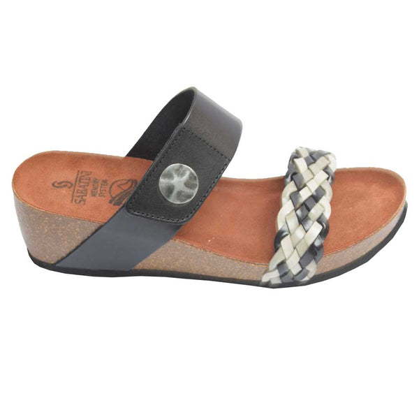 Cork Wedge Woven Slide Black